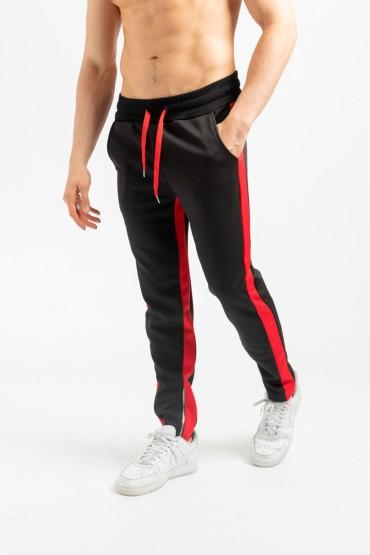 Pantaloni negri cu dunga rosie si fermoar la glezna Frilivin - 1