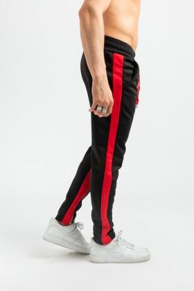 Pantaloni negri cu dunga rosie si fermoar la glezna Frilivin - 2
