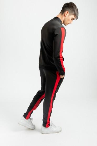 Pantaloni negri cu dunga rosie si fermoar la glezna Frilivin - 4