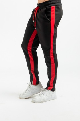 Pantaloni negri cu dunga rosie si fermoar la glezna Frilivin - 3