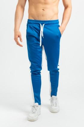 Pantaloni casual albastri cu dunga alba, snur in talie si fermoar la glezna Frilivin - 2