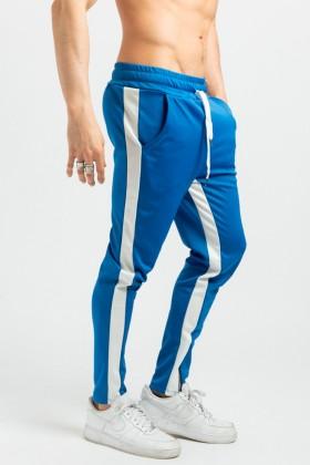 Pantaloni casual albastri cu dunga alba, snur in talie si fermoar la glezna Frilivin - 1