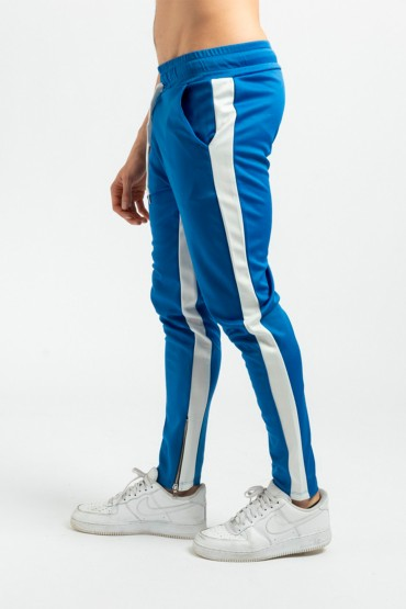 Pantaloni casual albastri cu dunga alba, snur in talie si fermoar la glezna Frilivin - 3