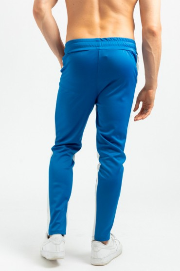 Pantaloni casual albastri cu dunga alba, snur in talie si fermoar la glezna Frilivin - 4