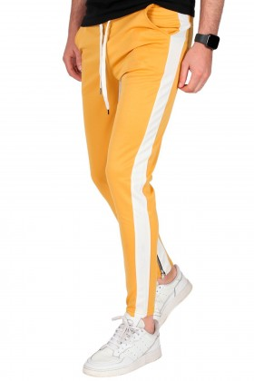 Pantaloni casual galbeni cu dunga alba, snur in talie si fermoar la glezne Frilivin - 1