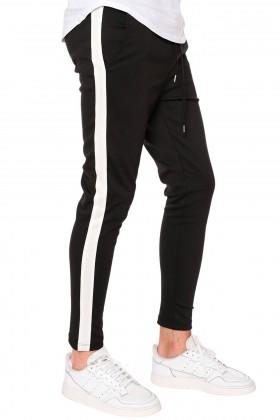 Pantaloni negri casual cu dunga alba si snur in talie Frilivin - 1