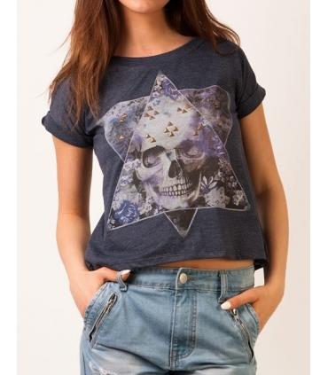 Tricou imprimat cu craniu colorat si tinte aurii  - 1