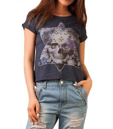 Tricou imprimat cu craniu colorat si tinte aurii  - 3