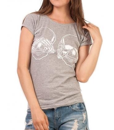 Tricou gri imprimat cu 2 cranii albe  - 1