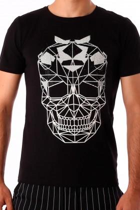 Tricou negru cu imprimeu craniu si aplicatii stralucitoare BerryDenim - 1