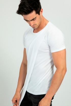 Tricou casual alb asimetric  - 1