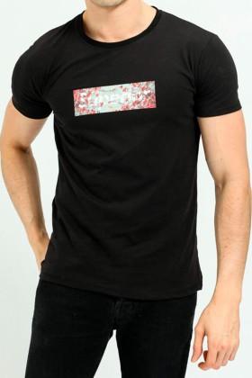 """Tricou negru, casual cu imprimeu si mesaj """"Superior"""" Frilivin - 1"""