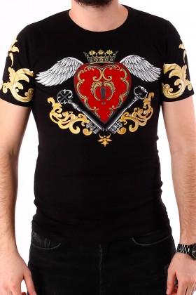 Tricou negru cu imprimeu inima cu aripi si flori BerryDenim - 2