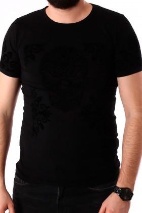 Tricou negru cu broderie neagra din catifea, craniu si flori BerryDenim - 1