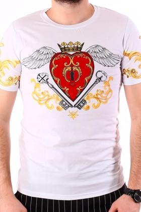 Tricou alb cu imprimeu inima cu aripi si flori