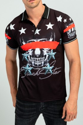 Tricou polo negru cu imprimeu cap de mort  - 1