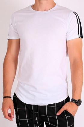 Tricou alb cu dungi negre din catifea pe maneci  - 1