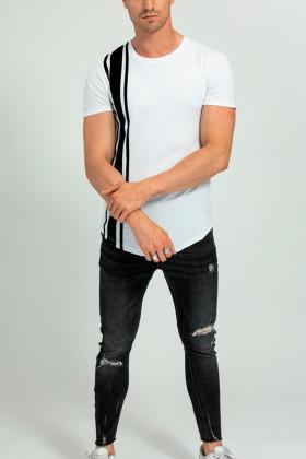 Tricou casual alb cu dungi negre  - 1
