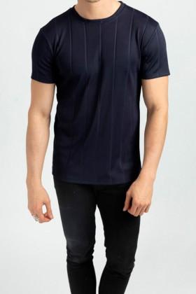Tricou casual bleumarin texturat Frilivin - 1
