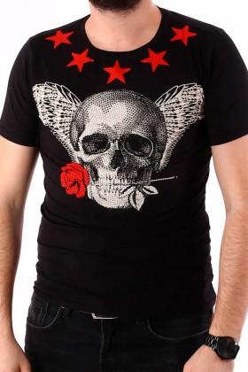 Tricou negru cu imprimeu craniu si stele albe BerryDenim - 1