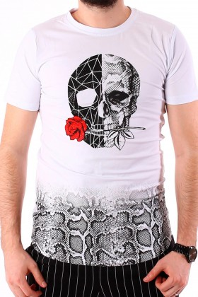 Tricou alb , craniu cu aplicatii stralucitoare si piele de sarpe BerryDenim - 2