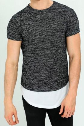 Tricou casual negru cu alb Frilivin - 1