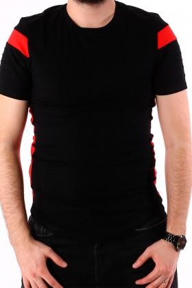 Tricou negru cu dungi rosii la maneci si laterale BerryDenim - 2