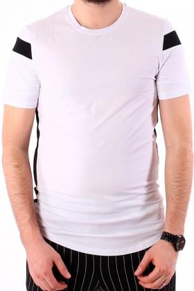 Tricou alb cu dungi negre la maneci si laterale  - 1