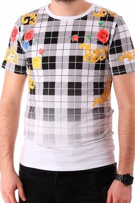 Tricou alb cu imprimeu flori colorate si carouri negre BerryDenim - 1