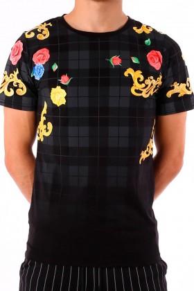Tricou negru cu imprimeu flori colorate si carouri gri BerryDenim - 1