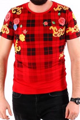 Tricou rosu cu imprimeu flori colorate si carouri negre