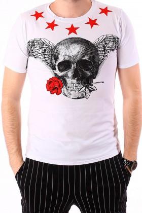 Tricou alb cu imprimeu craniu si stele rosii BerryDenim - 1