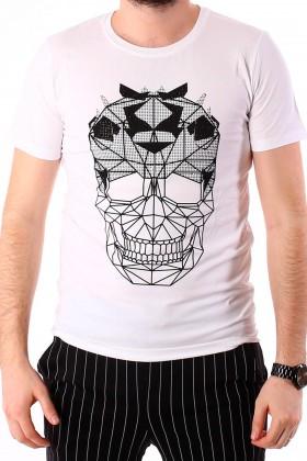 Tricou alb cu imprimeu craniu si aplicatii stralucitoare BerryDenim - 1