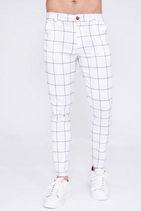Pantaloni slim fit albi cu carouri negre Frilivin - 1