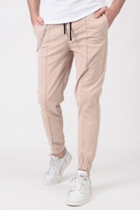 Pantaloni casual bej snur in talie si accesoriu Frilivin - 1