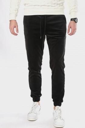 Pantaloni casual negri, catifea si snur in talie Frilivin - 1
