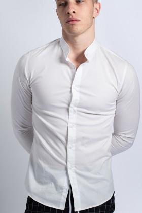 Camasa alba tip tunica slim fit  - 1