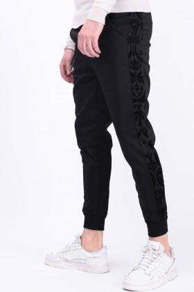 Pantaloni casual negri cu dunga din catifea  - 1
