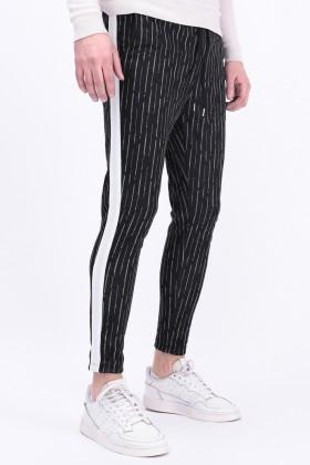 Pantaloni casual negri cu dungi albe fine si dunga laterala alba Frilivin - 1