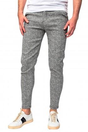 Pantaloni casual gri cu imprimeu linii Frilivin - 2