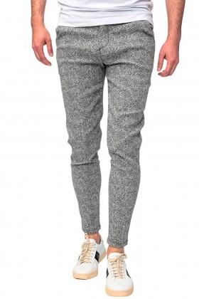 Pantaloni casual gri cu imprimeu linii Frilivin - 1