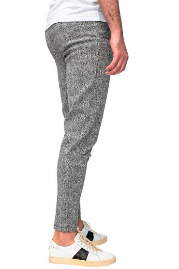 Pantaloni casual gri cu imprimeu linii Frilivin - 3