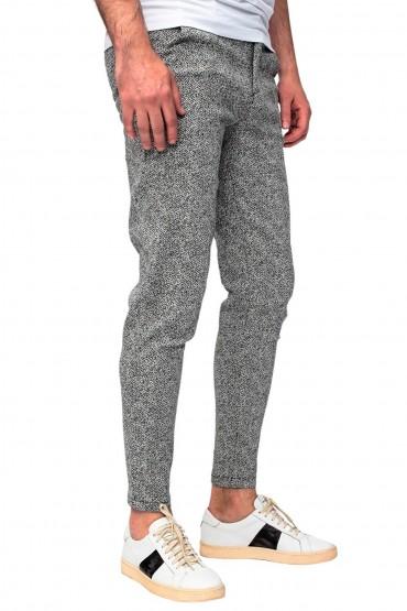 Pantaloni casual gri cu imprimeu linii Frilivin - 4