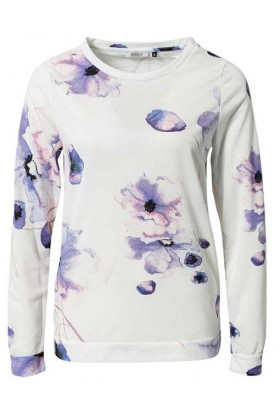 Bluza alba cu maneca lunga si flori mov  - 2