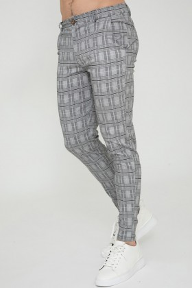 Pantaloni casual albi cu mici carouri negre Frilivin - 1
