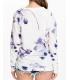 Bluza alba cu maneca lunga si flori mov  - 3