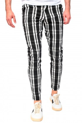Pantaloni casual negri cu carouri albe Frilivin - 1