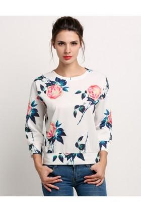 Bluza alba cu trandafiri  - 1