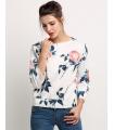 Bluza alba cu trandafiri  - 4