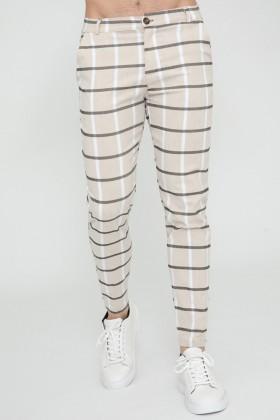 Pantaloni casual bej cu carouri negre si albe Frilivin - 1